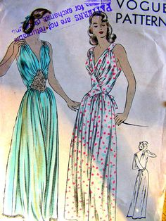 Vogue 6162 - Vintage Sewing Pattern - Hollywood Glamour Nightgown with Diamond Shaped Inset - FF - Size 16 Bust 34
