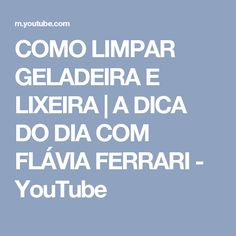 COMO LIMPAR GELADEIRA E LIXEIRA   A DICA DO DIA COM FLÁVIA FERRARI - YouTube