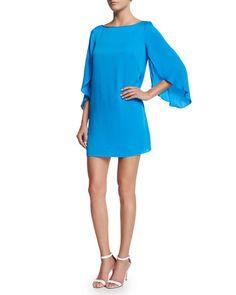 TAZ3Q Milly Butterfly-Sleeve Stretch-Silk Dress