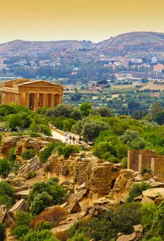Sunset in Temple of Concordia - Valley of the Temples, Agrigento, Sicily, Italy