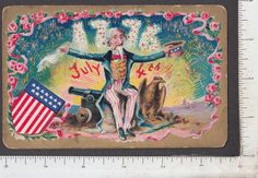 9806 July 4th postcard Uncle Sam American eagle US flag shield cannon fireworks FOR SALE • $12.00 • See Photos! Money Back Guarantee. 9806 July 4th postcard Uncle Sam American eagle US flag shield cannon fireworks Excellent condition. Embossed. An exuberant July 4th image. IF item has original fold-lines, when shipped it will 282430628743