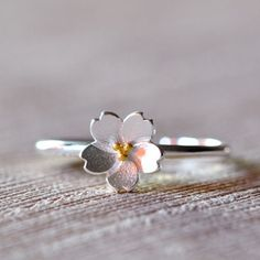 Cool! Fresh Silver Cherry Blossoms Yellow Stamen Adjustable Flower Opening Ring just $11.99 from ByGoods.com! I can't wait to get it!