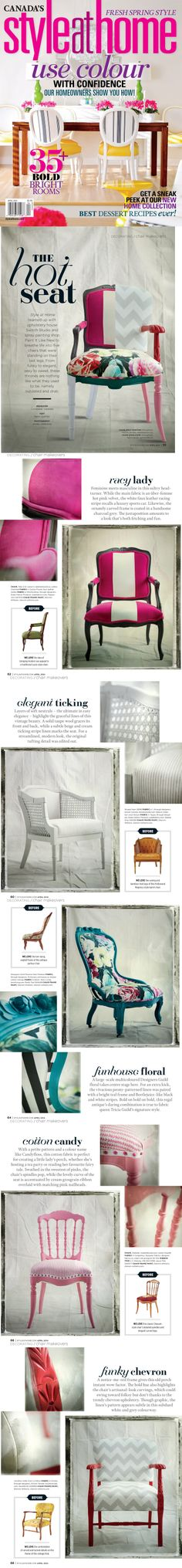 House And Home Magazine, New Words, Studio, Painted Furniture, Fabric Design, Upcycle, Upholstery, Chairs, House Styles