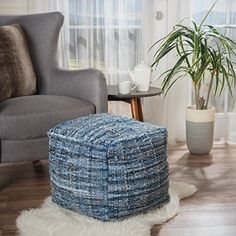 A daring denim design with a wonderfully woven exterior, the Harris Pouf eagerly awaits the chance to strut its stuff. Handcrafted and made with the durability to last, this confident cubic beanbag presents a comfortable touch and themed color scheme to match your jeans. Features: Includes: One... more details available at https://furniture.bestselleroutlets.com/accent-furniture/poufs/product-review-for-harlow-hand-woven-denim-fabric-pouf/