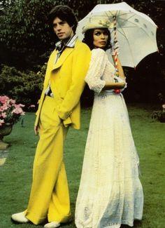 Mick Jagger + Bianca Jagger, 1974.