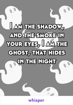 I am the shadow, and the smoke in your eyes, I am the ghost, that hides in the night
