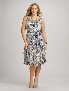 Plus Size Ruffled Abstract Floral Dress | Dressbarn