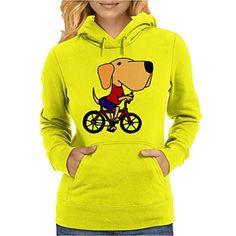 #Awesome #funny yellow labrador retriever dog riding on a bicycle original art design is fun and unique. We print all Hoodies using the latest DTG print technolog...