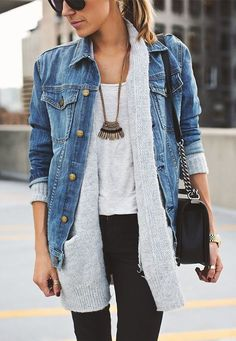 denim jacket + cardigan + white t-shirt + black jeans