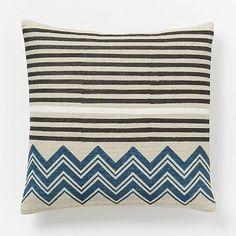 "**** Hand-Blocked Chevron Pillow Cover – Blue Lagoon #westelm. 18"" square, machine washable silk. On sale $31."