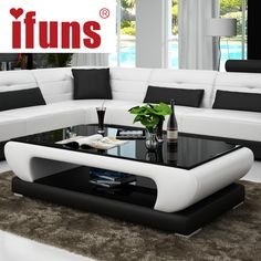 Online Shop IFUNS Living room furniture, modern new design coffee table, glass top wood base coffee table, small round glass tea table(fr) Living Room Sofa Design, Bedroom Bed Design, Living Room Designs, Small Living Room Furniture, Centre Table Design, Tea Table Design, Coffee Design, Centre Table Living Room, Center Table