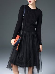 Cotton-blend A-line Mesh Knitted Crew Neck Midi Dress