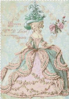 Marie Antoinette at the Paris Opera Shabby Chic Cross Stitch Pattern | BellaStitchery - Sewing and Fabric Supplies on Ar