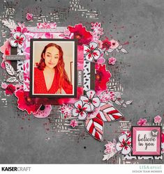 'Believe in You' <br> Kaisercraft <br> Magenta Collection by Lisa Amiet Baby Scrapbook, Scrapbook Pages, Believe, Black And White Flowers, Kids Pages, Candy Cards, Art Template, Art Plastique, Lisa