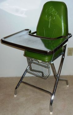 Vintage Folding Metal Chrome Vinyl Childs Baby Line High Chair Retro Mid Century