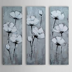 Hand Painted Oil Painting Floral Flower in Mist with Stretched Frame Set of 3 1311-FL1127 – USD $ 140.99