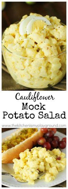 Cauliflower Mock Potato Salad ~ a full-of-flavor lower-carb version of our beloved potato salad! www.thekitchenismyplayground.com: