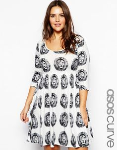 ASOS CURVE Skater Dress In Lion Print