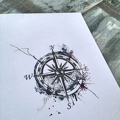 Compass tattoo watercolor trash polka modern wave:
