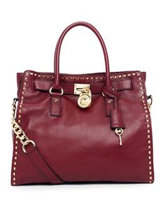 MICHAEL Michael Kors Hamilton Large Studded Tote in Bordeaux.. it'll be mine for anniversary!!