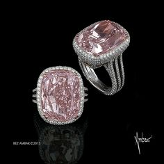 Bez Ambar Oval pink diamond center with pave frame and three row split shank set in Platinum or 18 karat gold.