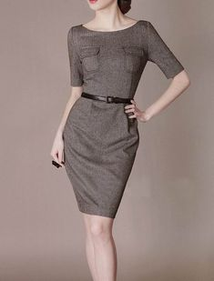 Vintage Elegant Dress Wool and Cotton Dress Fashion Office Style Formal Chic Suit Slim Straight Half Sleeve on Etsy, $1,586.87