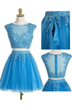 Cute Prom Dress,Tulle Prom Gown,Short Homecoming Dress,Two Pieces Party Gown 051 from Fashiondressess Two Piece Homecoming Dress, Cute Homecoming Dresses, Tulle Prom Dress, Graduation Dresses, Snowflake Dress, Party Gowns, Dress Party, Formal Dresses For Teens, Chiffon
