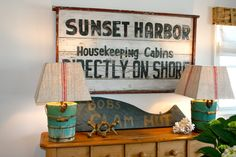 The Polished Pebble: Sunset harbor vintage sign. Does that say, Clam Hut? What?