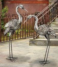 Garden Crane Pair Antique Silver Metal Coastal Statues Outdoor Bird  Sculptures