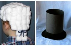 Presidents day crafts - the wig is cute! Made out of a box and cotton balls. K