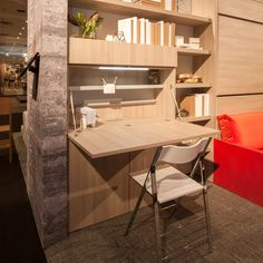 The Home Office Basso hides unsightly office clutter when guests unexpectedly arrive. The Home Office Basso hides unsightly office clutter when guests unexpectedly arrive. Space Saving Desk, Space Saving Furniture, Office Furniture, Furniture Design, Murphy Furniture, Space Saver, Modern Furniture, Office Wall Decor, Office Walls