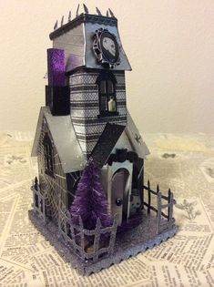 Love creating one of a kind vintage inspired Putz Halloween houses using Tim Holtz Sizzix new village dwelling, village manor and village s...