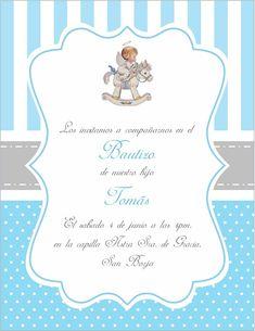 Invitacion bautizo Baptism Invitations, Invitation Cards, Party Invitations, Baby Boy Baptism, Baby Shawer, Carousel Birthday Parties, Kit Bebe, Kids Board, Diy Arts And Crafts