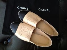 in love with this channel espadrille...beige/black...wearing it so soon...