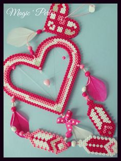 "Collection Attrape-Rêves Grand modèle ""Rêves-Love""  - Heart dreamcatcher hama perler beads by Magic-perles"