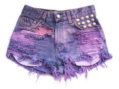 purple studded cut off shorts
