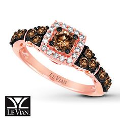 LeVian Chocolate Diamonds 7/8 ct tw Ring 14K Strawberry Gold