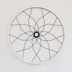 Bicycle decor wall art, SEVILLE geometric upcycled wheel sculpture mandala