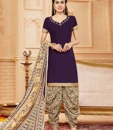 Buy Violet embroidered cotton unstitched salwar with dupatta dress-material online