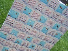 """""""Big Blue at the Dog Park"""" Baby Rag Quilt 