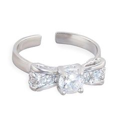 .925 Sterling Silver Jeweled Bow Toe Ring:Amazon:Jewelry