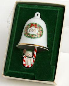 Vtg 1981 Hallmark Ornament Bellringers Mouse Xmas Candy Cane Clapper Porcelain 3