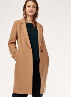 This sweater is knit with extra-fine merino wool from Italy, so it's soft and warm. The half-cardigan stitch lends just the right amount of texture. Camel Coat Outfit, Winter Coat Outfits, Blazers, Long Wool Coat, Wool Camel Coat, Long Beige Coat, Fashion Outfits, Girly Outfits, Trendy Outfits