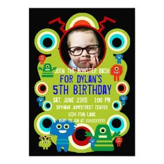 Custom Photo Monster Birthday Party Invitations SOLD on Zazzle