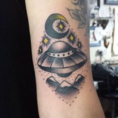 Moon UFO Tattoo