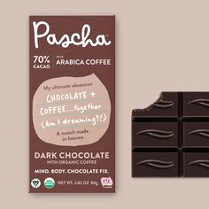 Our ultimate obsession - chocolate + coffee together. Pascha's vegan, organic, Non-GMO, sustainably sourced, 70% Cacao Chocolate Bar combined with organic arabica coffee beans. Dairy-Free, Soy-Free, and Gluten-Free. If you like coffee, you will love this bar. Organic Dark Chocolate, Vegan Dark Chocolate, Chocolate Liquor, Chocolate Brands, Chocolate Coffee, Big Chocolate, Chocolate Company, Delicious Chocolate, Arabica Coffee Beans