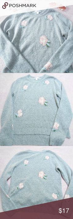 grey xhilaration sweater with pink flowers ❁ grey sweater with pink flower print ❁ stretchy and light weight ❁ the back is longer than the front  measurements ❁ bust: 34 inches, stretches up to 38 inches waist: 33 inches, stretches up to 38 inches length: 20 inches from front, 22.5 inches from the back Xhilaration Sweaters