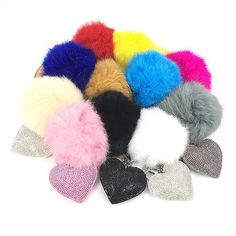 Bling mosaic love heart keychain with fur pompoms 11colors