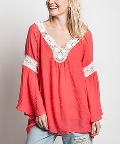 This Cherry Lace-Trim Bell-Sleeve Tunic by Elegant Apparel is perfect! #zulilyfinds