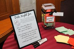 Date Night Jar- Guests help the newlywed couple with fun date ideas!